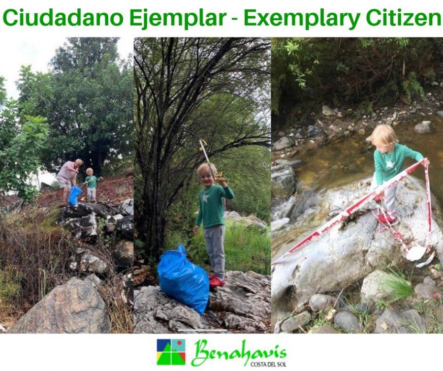 El niño recoge la basura de Benahavís