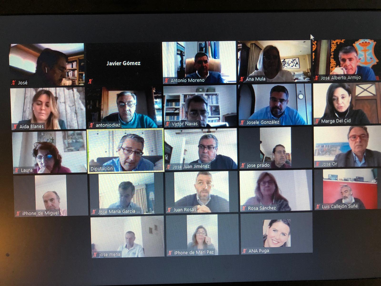 Reunión virtual del presidente de la Diputación con alcaldes y empresarios de la Costa del Sol.