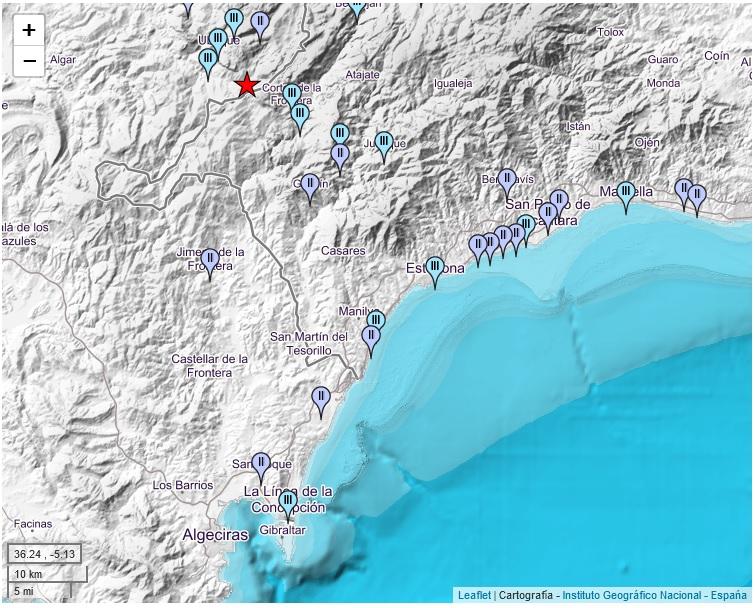 Mapa de intensidades del terremoto, localizado cerca de Ubrique.