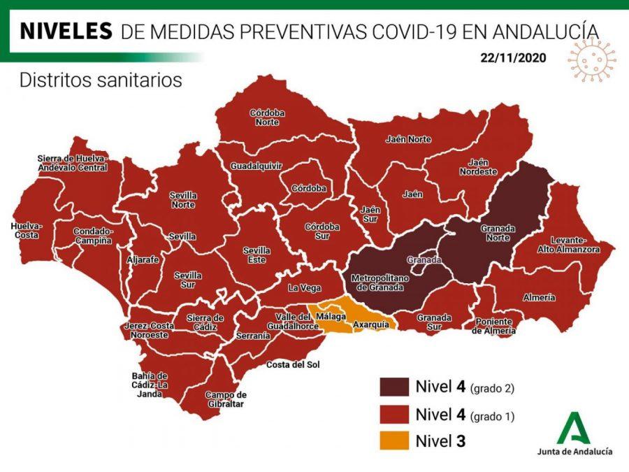 Mapa actualizado de los niveles de alerta por Covid en Andalucía.