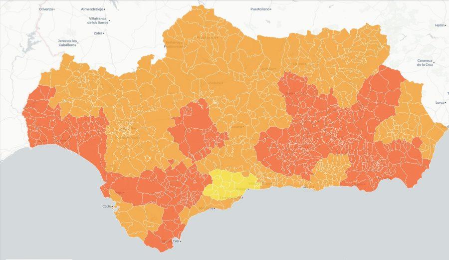Nuevo mapa de niveles de alerta en Andalucía.
