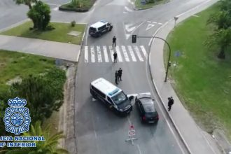 Control policial en Marbella.