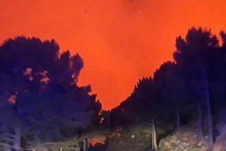 Incendio en Peñas Blancas en Jubrique durante la madrugada del jueves al viernes.